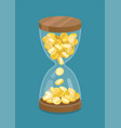 hourglass with coins time is money vector image