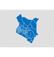 kenya map - high detailed blue map with vector image vector image