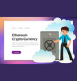 man with ethereum crypto currency safe poster vector image vector image