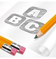 Pencils and letters on paper vector image vector image