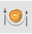 plate with fork and knife with transparent vector image vector image