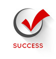 red check mark or tick in black round box vector image vector image
