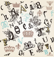 seamless pattern with english abc in retro style vector image