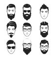 set bearded hipster men faces haircuts vector image vector image