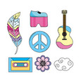 set elements to used of hippie people vector image