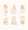set house sign flat beige vector image