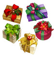 set of gift boxes tied with ribbons with a vector image vector image
