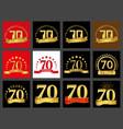 set of number seventy 70 years celebration design vector image