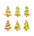 simple christmas trees in flat style vector image