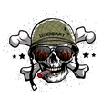 Skull with glasses and helmet vector image vector image