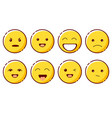 smiling emoji with different emotions laugh vector image vector image