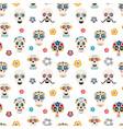 sugar skulls flat seamless pattern vector image