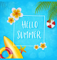 summer infographic with flower coconut leaves vector image vector image