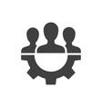 teamwork management black icon on white background vector image vector image