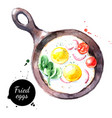 watercolor hand drawn breakfast fried eggs vector image vector image