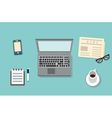 Workplace of businessman with mobile devices vector image vector image