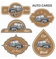 Set of vintage car cards vector image