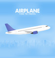 airplane in the sky urban city silhouette vector image vector image