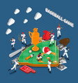 baseball game isometric composition vector image vector image