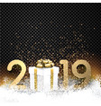 black shiny 2019 new year background with gold vector image vector image