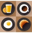 Breakfast icon set Juice glass coffee egg and vector image vector image