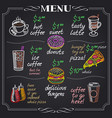 cafe menu design on chalkboard vector image vector image