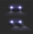 car headlights auto light bright front lighting vector image