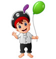 cartoon little pirate with green balloon vector image