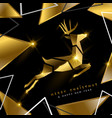 christmas and new year gold 3d deer greeting card vector image vector image