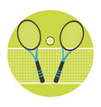 color circular frame with ball and net and tennis vector image