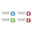 colorful download buttons set vector image vector image