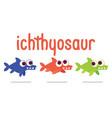 cute ichthyosaur swimming dinosaur life vector image