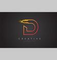 d letter design with golden outline and grunge vector image