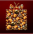 decorative christmas gift made of golden balls vector image vector image