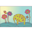 elephant and flowers vector image