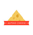 emblem with piece of cheese with holes vector image vector image