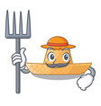 farmer straw hat isolated with the character vector image