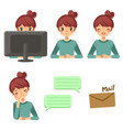 freelance woman and expression cartoon vector image vector image