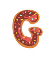 g letter in the shape of sweet glazed cookie vector image vector image