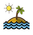 grated island with palm tree with sun and waves vector image vector image