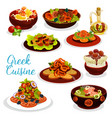 greek cuisine icon of seafood lunch with dessert vector image
