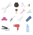 hairdresser and tools cartoon icons in set vector image vector image