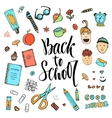 Hand drawn school stationery icon set vector image vector image