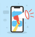 hand holds a megaphone with a smartphone screen vector image vector image