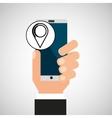 hand phone pin map app media vector image vector image