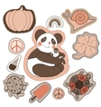 happy embroidery colorful patches collection vector image