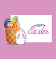 happy rabbit and easter egg decoration inside vector image