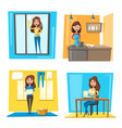 household chores set with woman doing housework vector image vector image