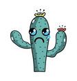 kawaii nice and crying cactus plant vector image vector image