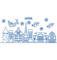 latvia winter city skyline merry christmas happy vector image vector image